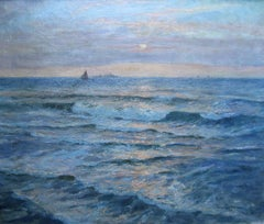 Sunset Seascape - Australian Impressionist oil painting marine boat waves