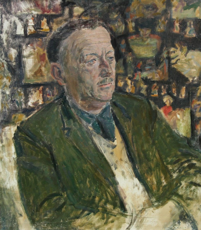 A Portrait of Ronald Morton ESQ - British oil painting - Gentleman in Green - Painting by Christopher Saunders