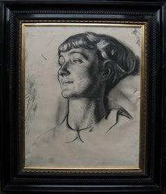 Portrait of a Young Woman - 1930's art deco portrait drawing British artist