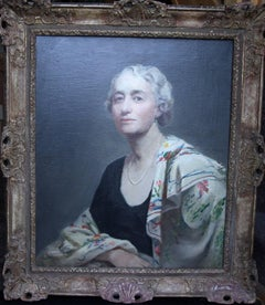A Portrait of Mrs Willis - British oil painting female artist lady shawl pearls