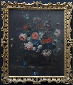 Floral Arrangement - Dutch Old Master oil painting peonies roses vase pink blue