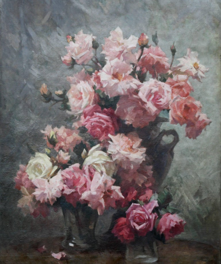 Samuel melton fisher red and pink roses british impressionist red and pink roses british impressionist oil painting large floral vases painting by samuel mightylinksfo