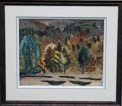 Dark Wood - Scottish Expressionist painting landscape trees hills blues orange