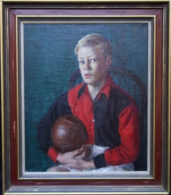 Roy of the Rovers - British Impressionist oil painting boy football kit ball