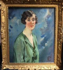 Portrait of a woman -Art Deco oil British/Indian female artist green blue pearls