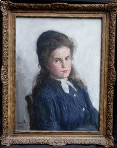 Portrait of a Girl - Scottish Edwardian Impressionist oil painting child blue