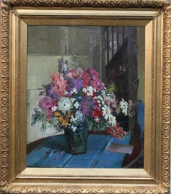 Floral Arrangement - British Impressionist oil still life mixed flowers pink red
