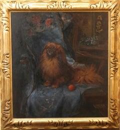 Pekenese - British Art Deco oil painting dog portrait interior chair ball blue