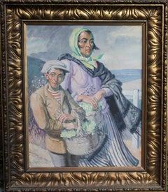 The Primrose Sellers - British Post Impressionist oil portrait landscape flowers