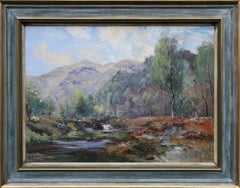 A Moorland Stream - Scottish Impressionist oil painting landscape trees mountain