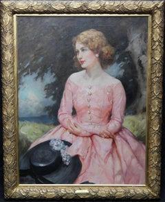 Jonne - British oil painting portrait woman pink dress hat landscape c 1930