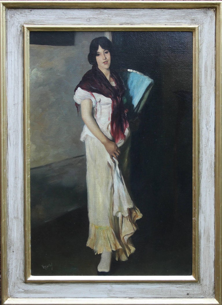 Portrait of a Lady - British Art Deco oil painting woman standing purple shawl