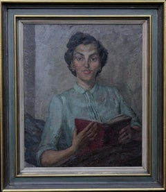 Portrait of a Woman Reading - British oil seated interior green female artist