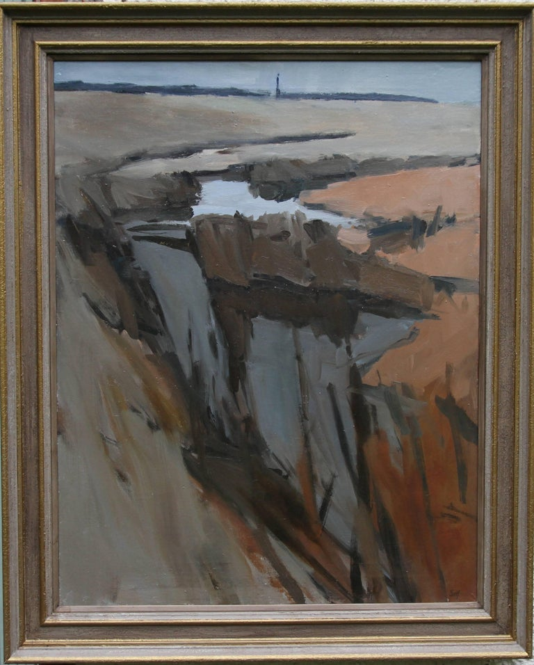 Essex Landscape - British Abstract oil painting orange brown