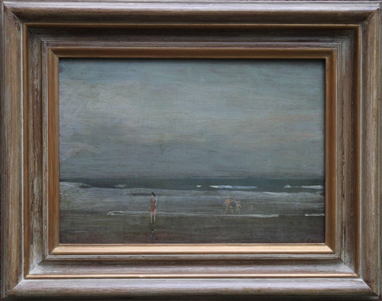 Bathers on Seashore - Irish Impressionist oil painting marine seascape waves