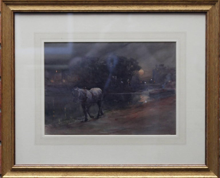 Canal Nocturne - British Victorian oil painting horse barges moonlight