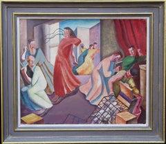 Christ Expelling the Money Changers - British oil surrealist religious interior