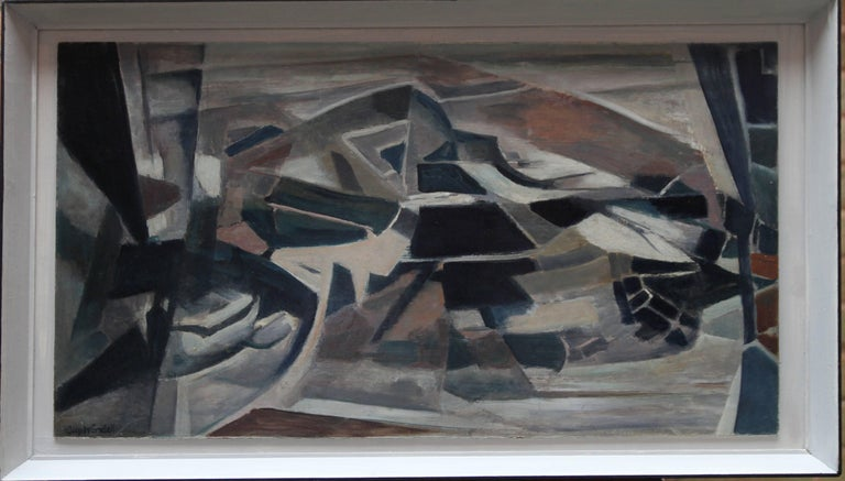 Flint County Wales - British Abstract landscape oil painting black brown blue