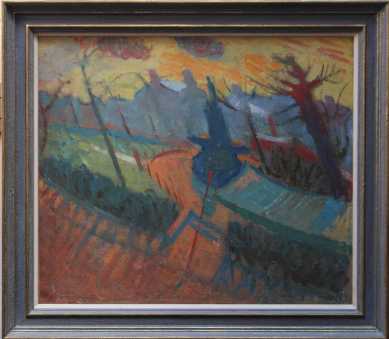 City Landscape - British Abstract Surrealist oil painting houses blue orange red