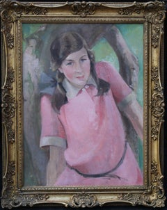 Girl in Pink - Scottish Impressionist oil painting portrait woman plaits tree