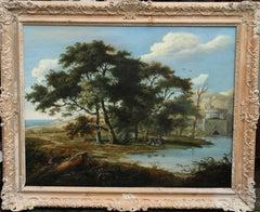 Italian Capriccio - Old Master British oil painting landscape trees travellers