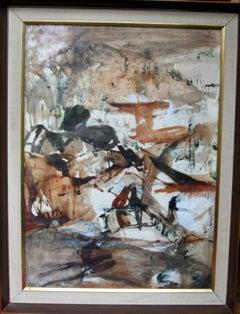 Landscape - Australian Abstract painting landscape brown black female artist