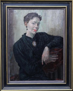 Portrait of a Lady - Post Impressionist oil painting seated woman cameo broach