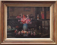 Floral Arrangement - British oil interior still life flowers pink sweet peas