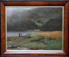 Misty Loch - Scottish oil painting landscape waterside mother child mountain