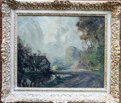 Village pond  - British Impressionist oil painting cottage path church trees