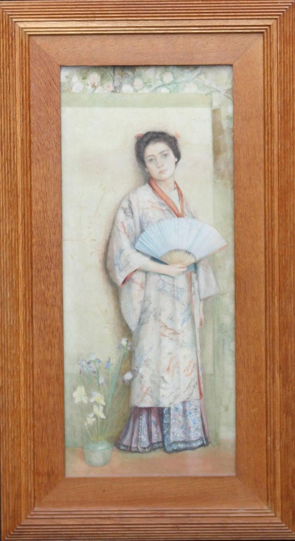Japanese Lady - Scottish Pre-Raphaelite standing portrait oil painting