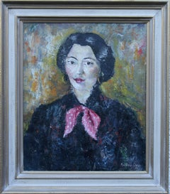 Portrait of a French Lady - British oil painting woman pink scarf female artist