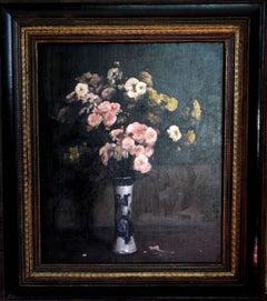 Floral Arrangement - Impressionist oil still life pink yellow chrysanthemums