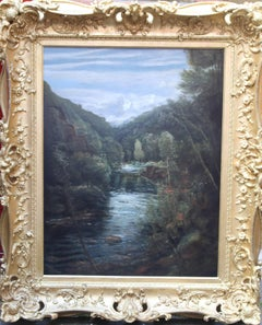 Riverscape - Old Master British oil painting river woods