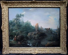 Capriccio Arcadian Landscape - Old Master French oil painting figures cattle