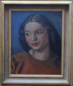 Portrait of a Woman - Oil painting Slade School Modern British Bloomsbury orange