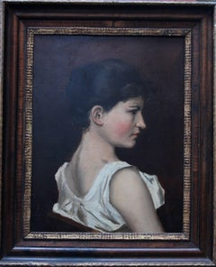 Portrait of a Lady - British Impressionist oil painting female whte blouse.