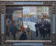 Band at Great Yarmouth - British Impressionist oil painting townscape music drum