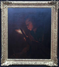 Boy Blowing a Candle - Old Master Dutch oil painting classical candlelight genre