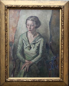 Portrait of Mrs Bouverie Hockey- Art Deco oil painting seated woman green dress