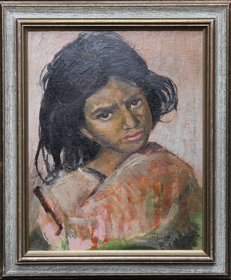 Philip Naviasky Portrait Painting - Portrait of a Young Girl- British Impressionist oil painting