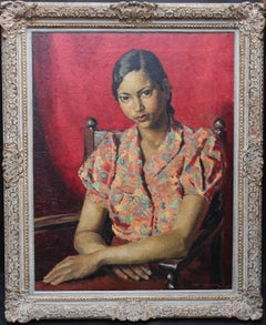 Portrait of an Oriental Woman- British Art Deco oil painting seated interior