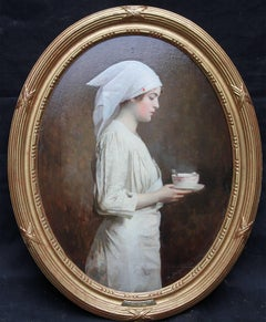 Hot Soup - French oil painting portrait World War I nurse