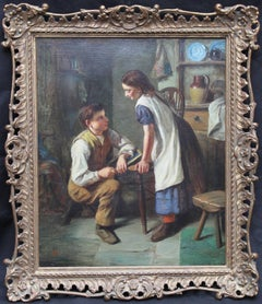 The Marriage Proposal - British Victorian oil painting courting couple interiror