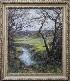 Surrey Landscape - British Impressionist oil painting river fields spring