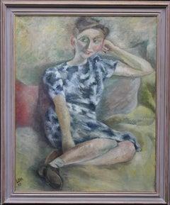 Smiling Girl- Post-Impressionist portrait oil painting Jewish artist blue dress
