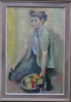 Girl with Apples- Post-Impressionist seated portrait oil painting Jewish artist