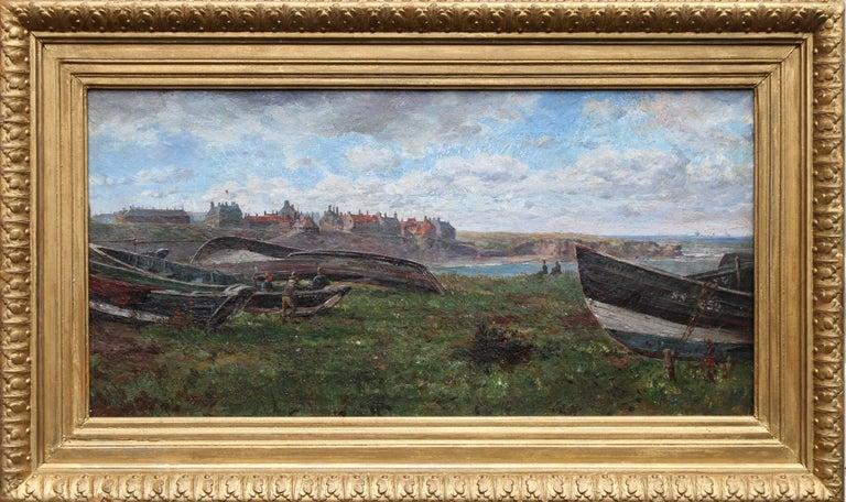 Artist at Harbour - British oil painting landscape harbourscape boats fishermen