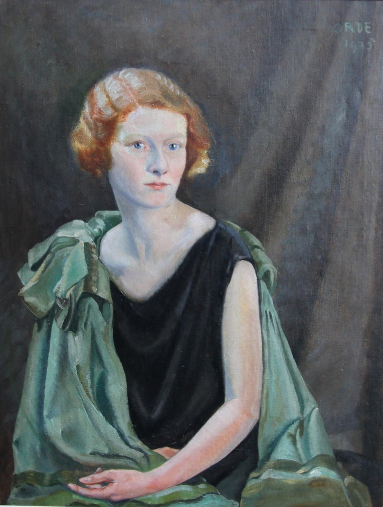 Portrait of a Lady - Art Deco oil painting British listed artist green shawl - Painting by Cuthbert Orde