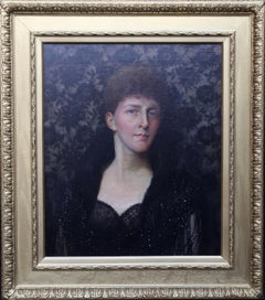 Portrait of a Lady - Nora H Palairet- British Edwardian Pre-raphaelite oil